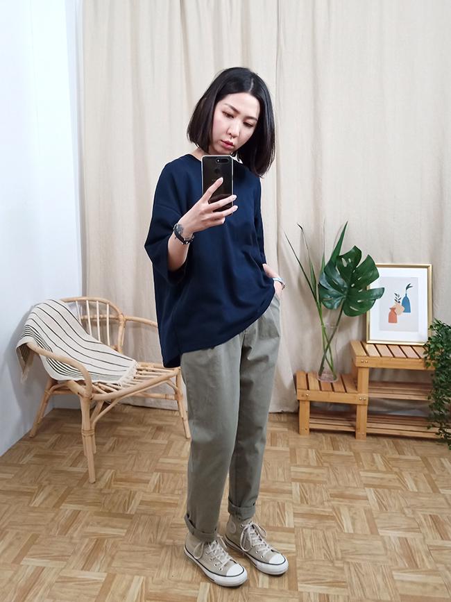 彈性棉質休閒褲