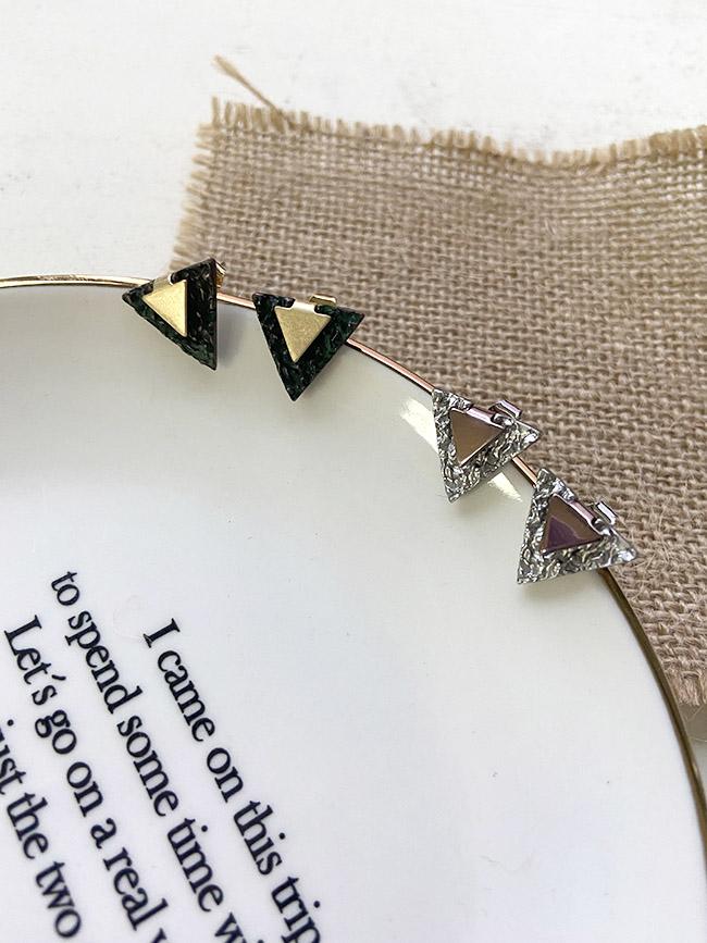雙層三角耳環
