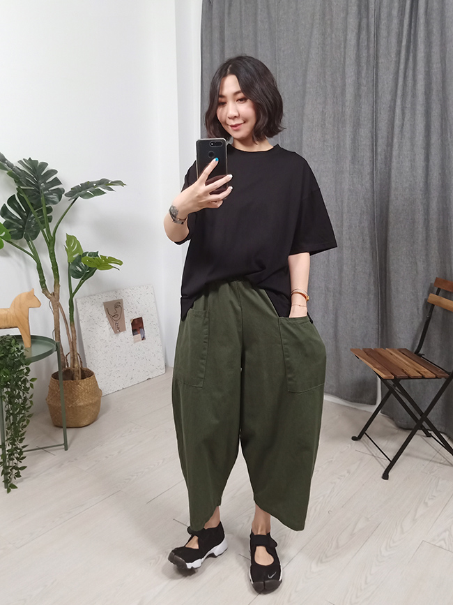 大口袋繭形褲