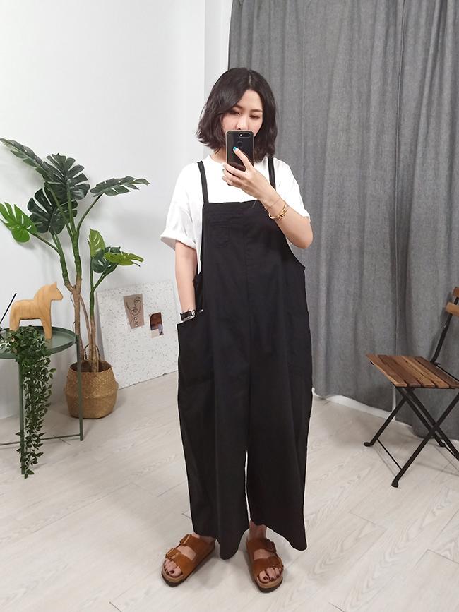 可愛寬版棉麻吊帶褲