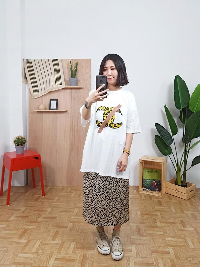 狂野豹紋緞面裙