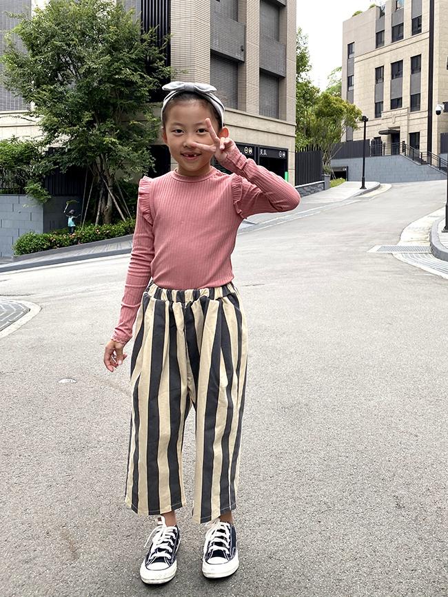 直條紋休閒褲