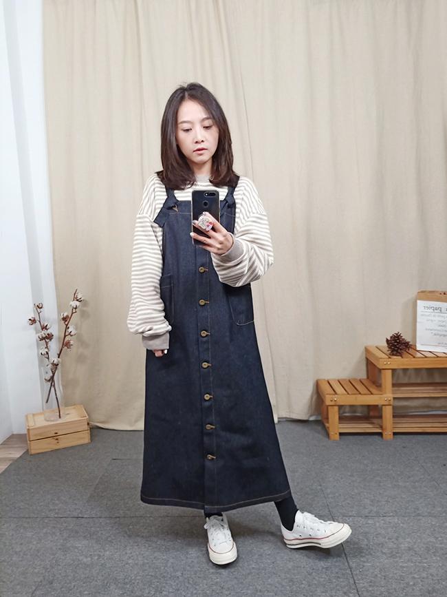 原色丹寧挺版吊帶裙