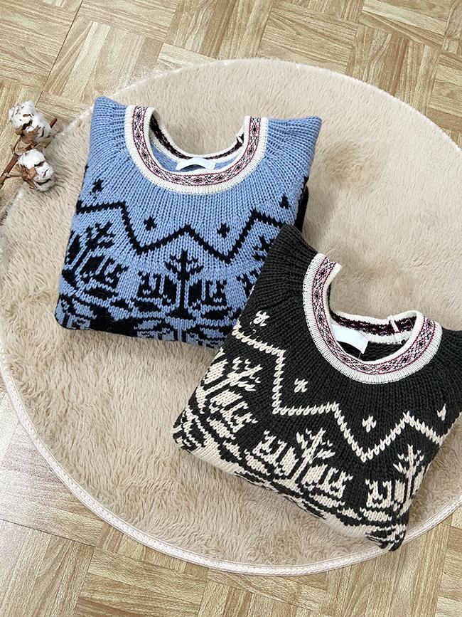 異國圖騰短版毛衣