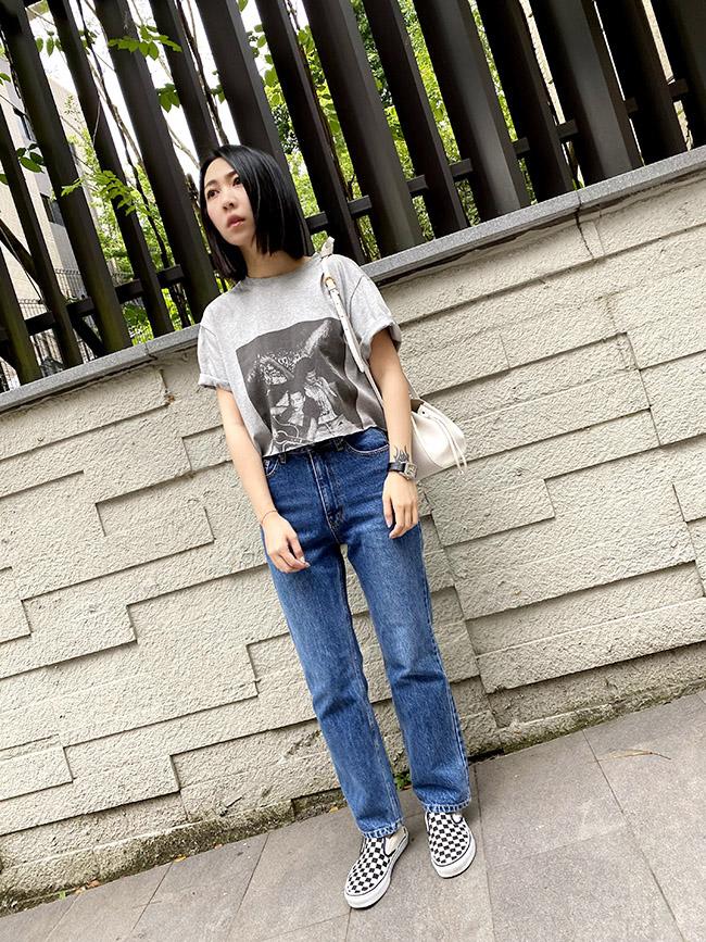 簡單刷白高腰直筒褲