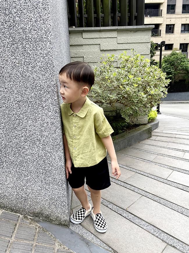 麻料小領子襯衫