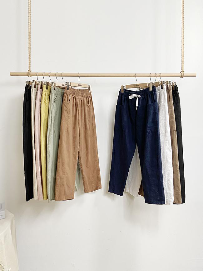別想了!快包色休閒褲+大口袋綁帶棉麻褲(兩件優惠區)