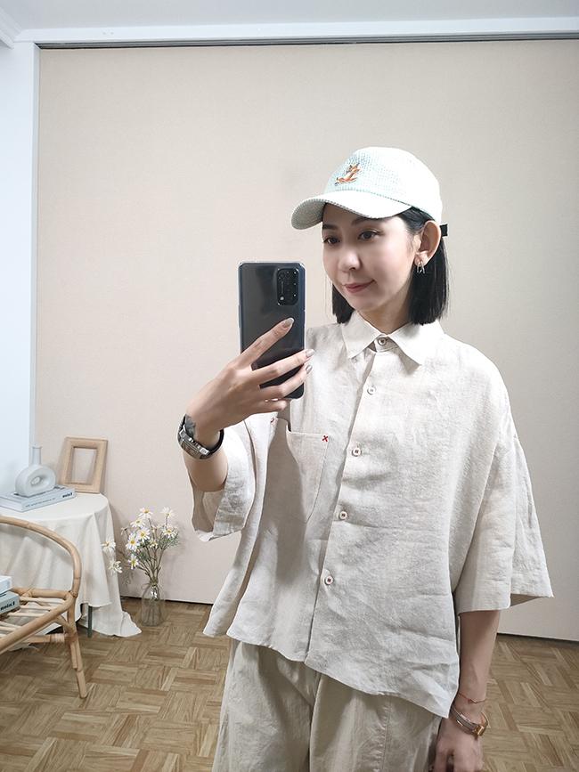 麻料X亮車線短袖襯衫