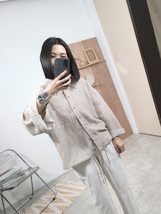 自然風寬袖子亞麻襯衫