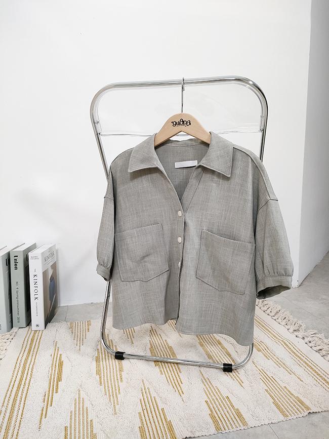 小澎袖短版襯衫