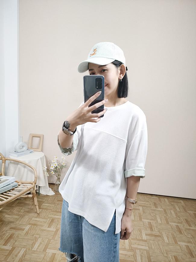 袖反褶造型棉T