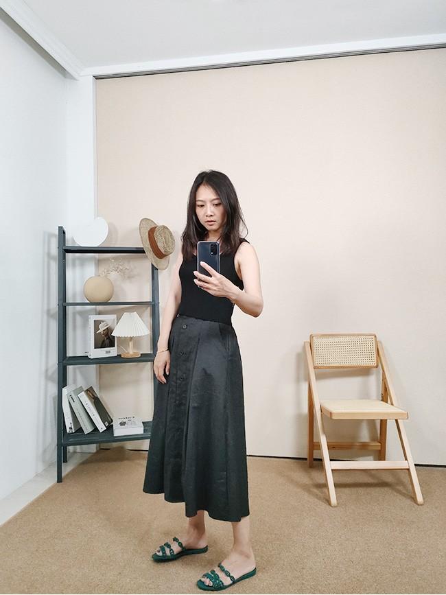排釦偽西裝半身裙