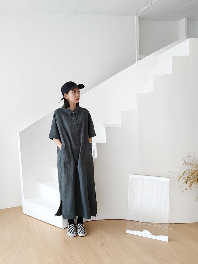 |guapa|日系排釦口袋麻料洋