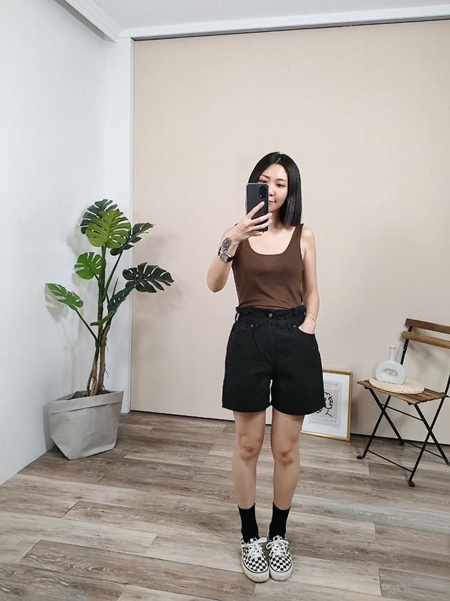 花苞褲頭雙釦短褲