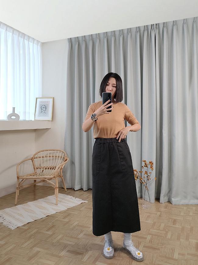 全鬆緊雙口袋長裙